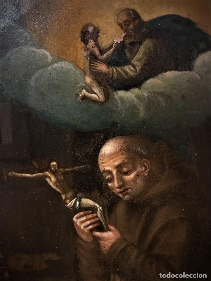 Arte: SAN JUN DE DIOS ANTE LA CRUZ CON DONANTE, OLEO SOBRE COBRE S. XVII - Foto 13 - 117555575