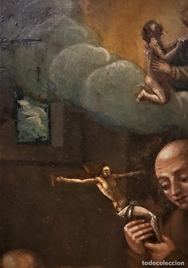 Arte: SAN JUN DE DIOS ANTE LA CRUZ CON DONANTE, OLEO SOBRE COBRE S. XVII - Foto 14 - 117555575