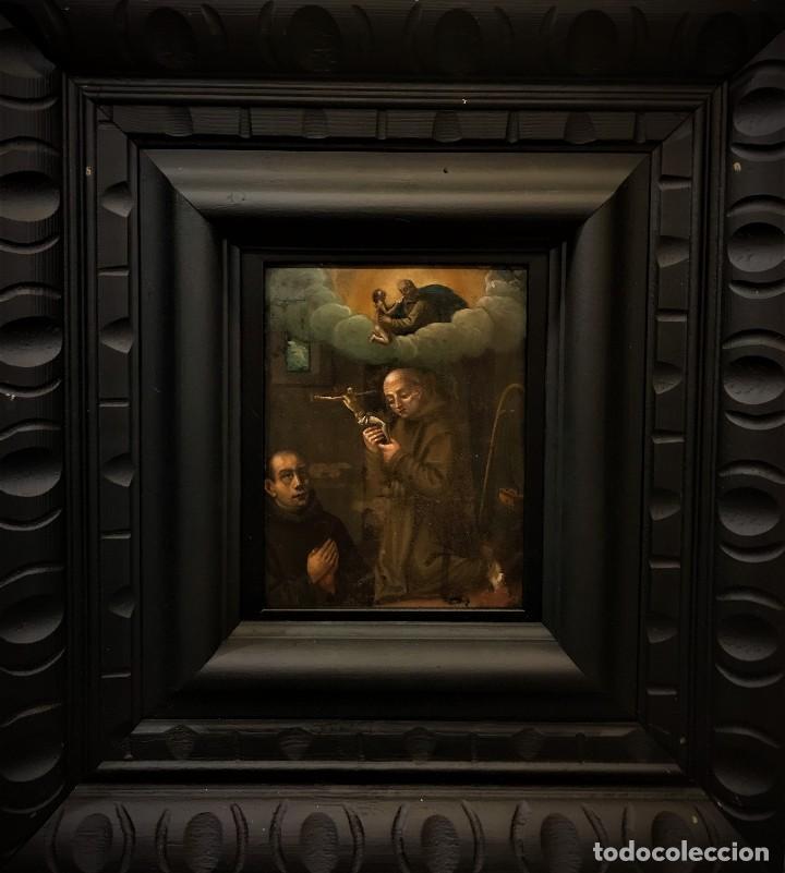 Arte: SAN JUN DE DIOS ANTE LA CRUZ CON DONANTE, OLEO SOBRE COBRE S. XVII - Foto 15 - 117555575