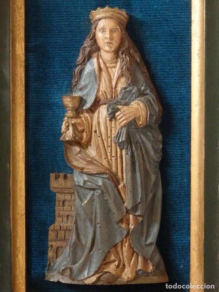 Arte: Santa Bárbara. Relieve en madera tallada y policromada. 17,5 cm. Hacia 1900. - Foto 2 - 117582147