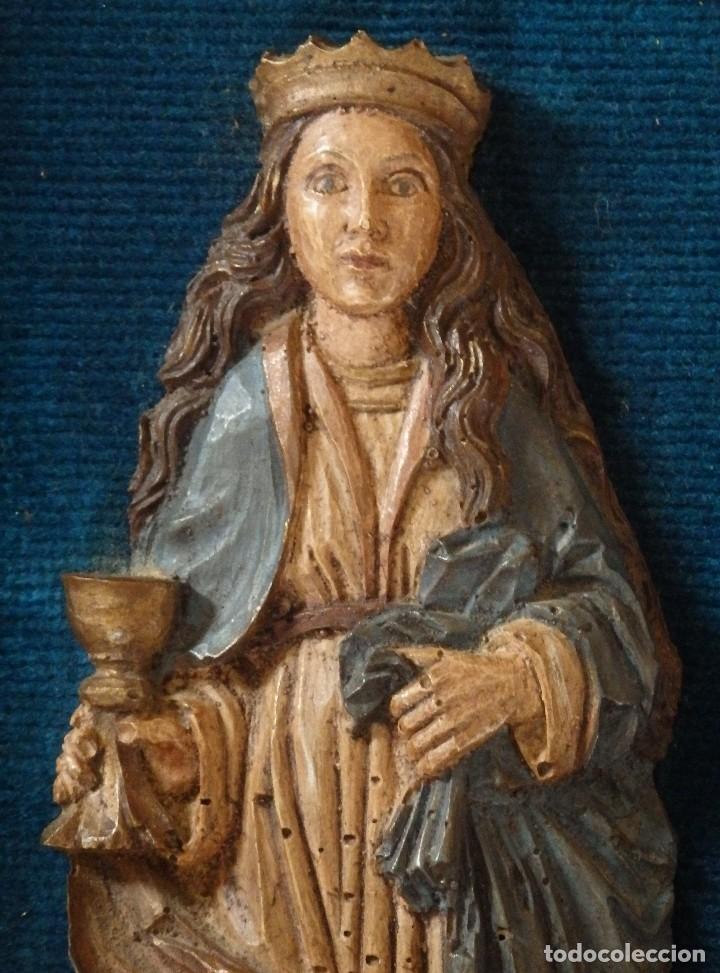 Arte: Santa Bárbara. Relieve en madera tallada y policromada. 17,5 cm. Hacia 1900. - Foto 3 - 117582147