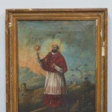 Arte: INTERESANTE OLEO S/ LIENZO. SAN RAMON NONATO. PORTA CRUZ PATRIARCAL AJENA A SU ICONOGRAFIA. 1854. Lote 117619191