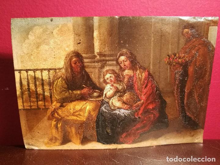 LA SAGRADA FAMILIA CON SANTA ANA. COBRE ATRIBUIDO A ANTONIO DE PEREDA. (Arte - Arte Religioso - Pintura Religiosa - Oleo)