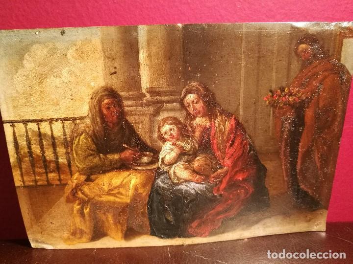 Arte: LA SAGRADA FAMILIA CON SANTA ANA. COBRE ATRIBUIDO A ANTONIO DE PEREDA. - Foto 2 - 117757511