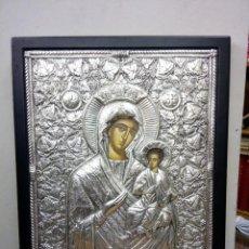 Arte: ICONO BIZANTINO EN PLATA REPUJADA 950, MEDIDAS DEL ICONO 38 CM X 30 CM. Lote 117807355