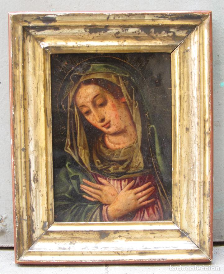 MADONNA, ANÓNIMO, S. XVIII, PINTURA SOBRE COBRE. 25,5X20,5CM (Arte - Arte Religioso - Pintura Religiosa - Oleo)