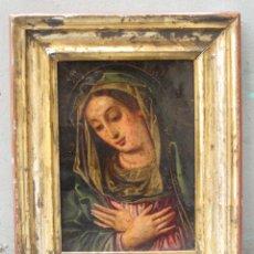 Arte: MADONNA, ANÓNIMO, S. XVIII, PINTURA SOBRE COBRE. 25,5X20,5CM. Lote 117812523