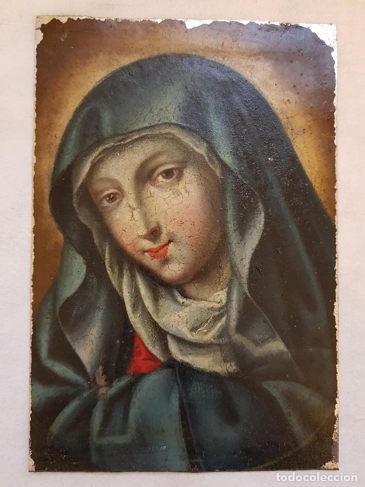 ÓLEO SOBRE HIERRO. VIRGEN SIGLO XVII (Arte - Arte Religioso - Pintura Religiosa - Oleo)