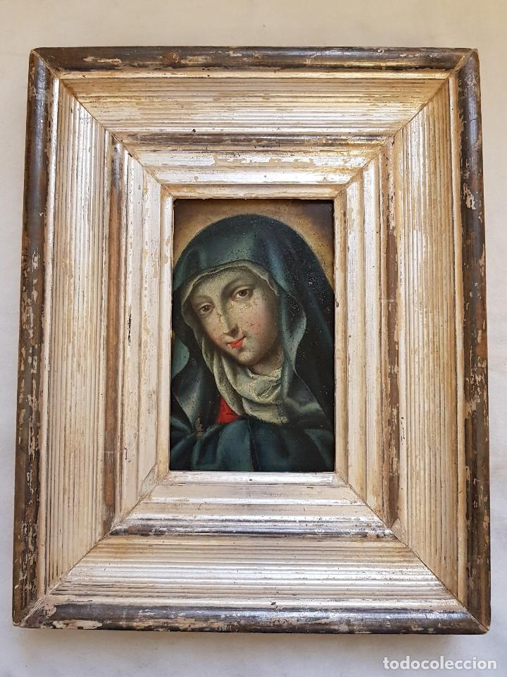 Arte: Óleo sobre hierro. Virgen siglo XVII - Foto 3 - 117868991