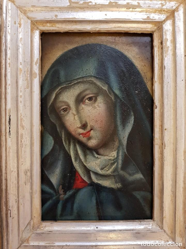 Arte: Óleo sobre hierro. Virgen siglo XVII - Foto 4 - 117868991
