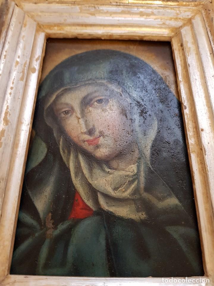 Arte: Óleo sobre hierro. Virgen siglo XVII - Foto 5 - 117868991
