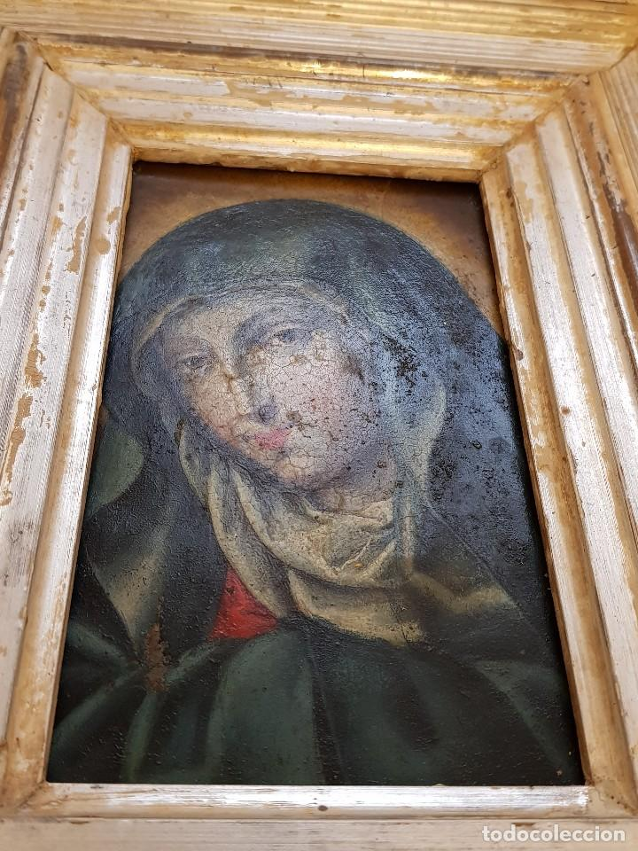 Arte: Óleo sobre hierro. Virgen siglo XVII - Foto 6 - 117868991