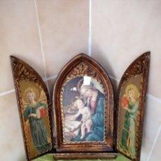 Arte: ANTIGUO TRIPTICO VIRGEN CON EL NIÑO LAMINA PEGADA EN MADERA ,ORO VIEJO. Lote 117881899