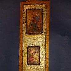 Arte: TRIPTICO EN MADERA CON LAMINAS IMAGENES RELIGIOSAS. Lote 117928311