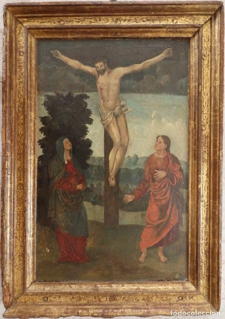 CALVARIO. OLEO SOBRE TABLA. ESCUELA FLAMENCA. SIGLO XVI. (Arte - Arte Religioso - Pintura Religiosa - Oleo)