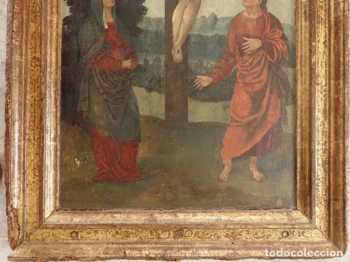 Arte: Calvario. Oleo sobre tabla. Escuela flamenca. Siglo XVI. - Foto 3 - 117955635