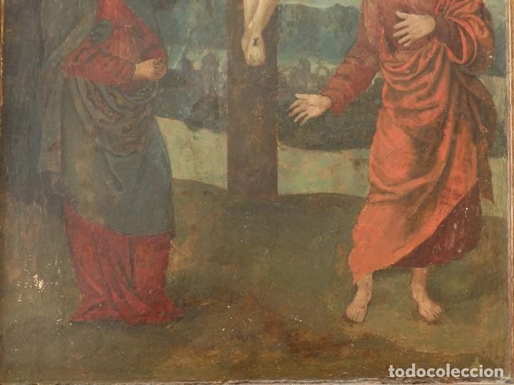 Arte: Calvario. Oleo sobre tabla. Escuela flamenca. Siglo XVI. - Foto 4 - 117955635
