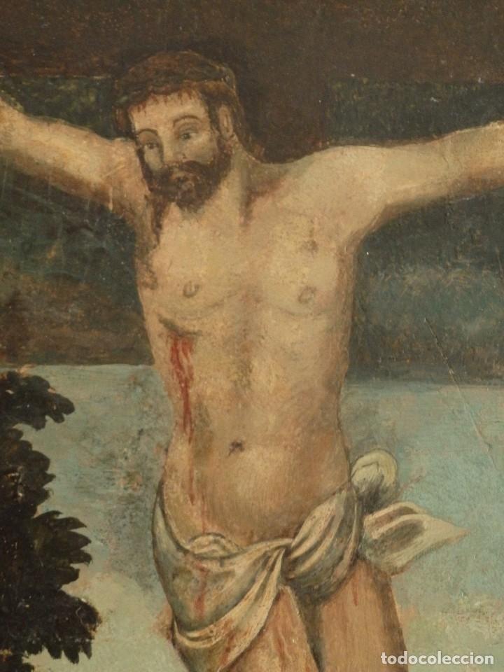Arte: Calvario. Oleo sobre tabla. Escuela flamenca. Siglo XVI. - Foto 13 - 117955635