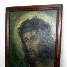 Arte: ANTIGUA PINTURA AL OLEO ECCE HOMO - ROSTRO DE CRISTO JESUS - MORTIS ET MORIO - FIRMADO. Lote 116973043