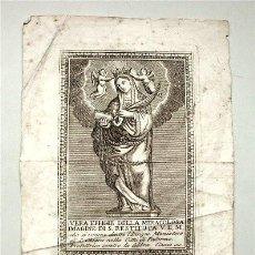 Arte: GRABADO ITALIANO DEL SIGLO XVIII. SANTA RESTITUTA. GRABADOR CIACCIO. Lote 118103163