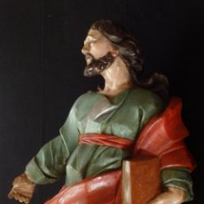 Arte: SAN PABLO. ESCUELA ESPAÑOLA, SIGLO XVIII. MADERA TALLADA Y POLICROMADA. 114 X 53 CM.. Lote 118110395