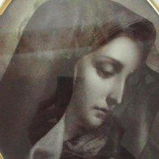 Arte: ANTIGUO GRABADO - VIRGEN - MARCO OVALADO DE LATÓN - S. XIX. Lote 118224095