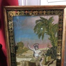 Arte: MAGNIFICO MARCO BORDADO EN SEDA DE SAN JUAN BAUTISTA AÑO 1846 - MEDIDA 72X50 CM - RELIGIOSO. Lote 118378011