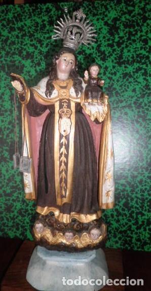 VIRGEN DEL CARMEN MADERA TALLADA Y POLICROMADA. SIGLO XVIII (Arte - Arte Religioso - Escultura)
