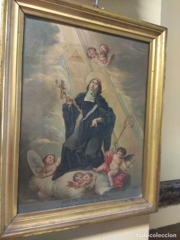 ÓLEO SOBRE LIENZO SANTA FLORENTINA - PATRONA DE CARTAGENA - JOSÉ GALLEL Y BELTRÁN (Arte - Arte Religioso - Pintura Religiosa - Oleo)