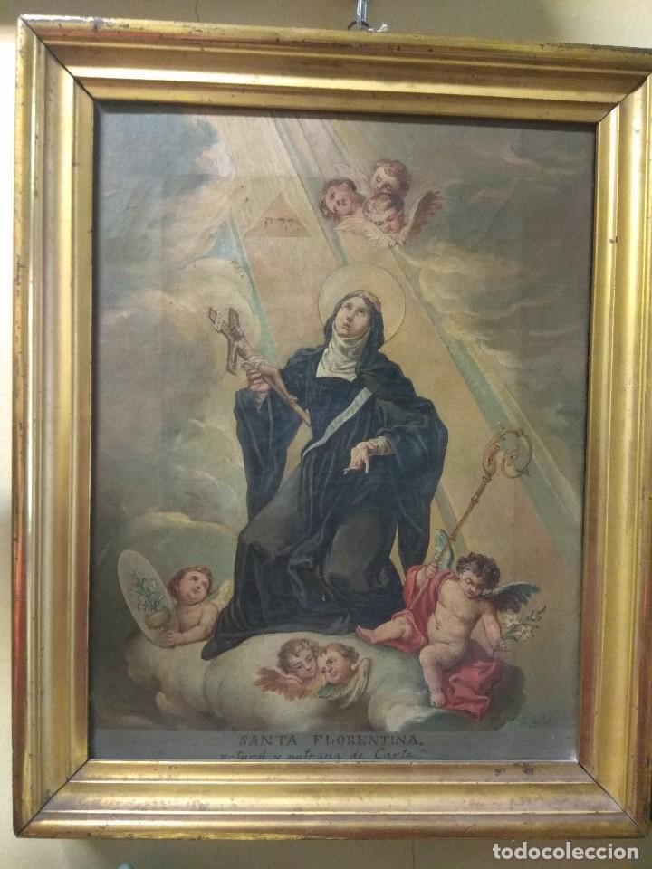 Arte: Óleo sobre Lienzo Santa Florentina - Patrona de Cartagena - José Gallel y Beltrán - Foto 2 - 118474683