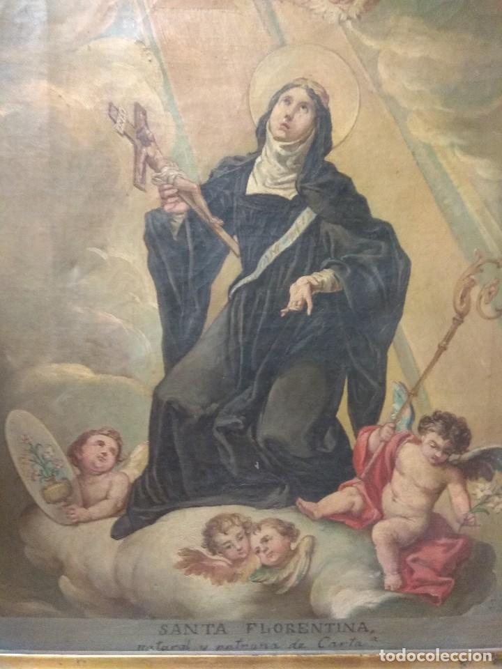 Arte: Óleo sobre Lienzo Santa Florentina - Patrona de Cartagena - José Gallel y Beltrán - Foto 3 - 118474683