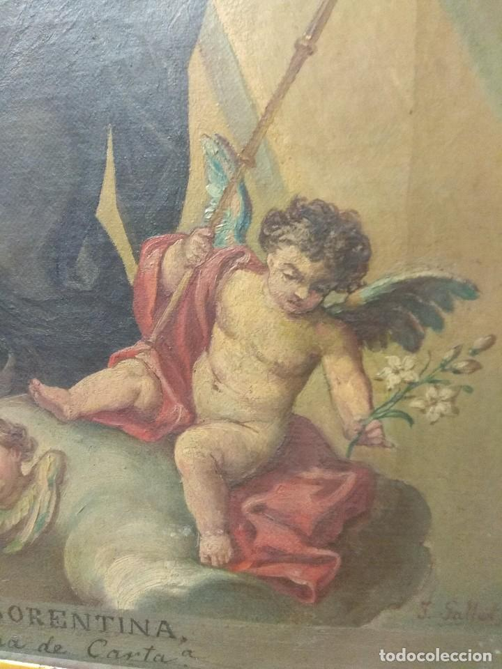 Arte: Óleo sobre Lienzo Santa Florentina - Patrona de Cartagena - José Gallel y Beltrán - Foto 5 - 118474683