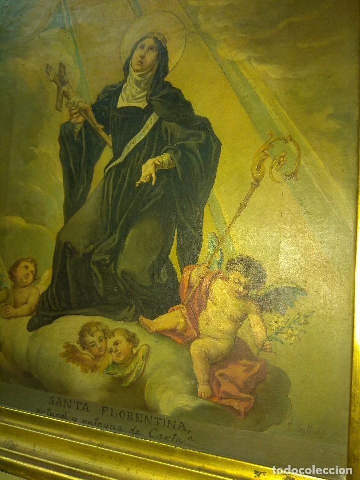 Arte: Óleo sobre Lienzo Santa Florentina - Patrona de Cartagena - José Gallel y Beltrán - Foto 11 - 118474683