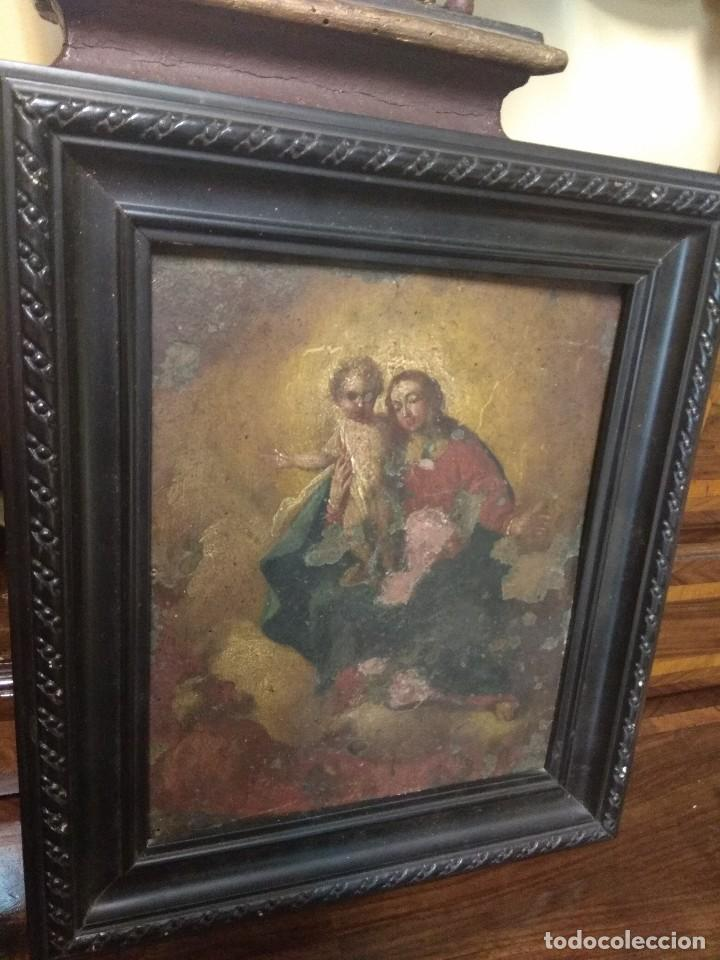 ÓLEO SOBRE COBRE - LA VIRGEN CON EL NIÑO XVIII (Arte - Arte Religioso - Pintura Religiosa - Oleo)