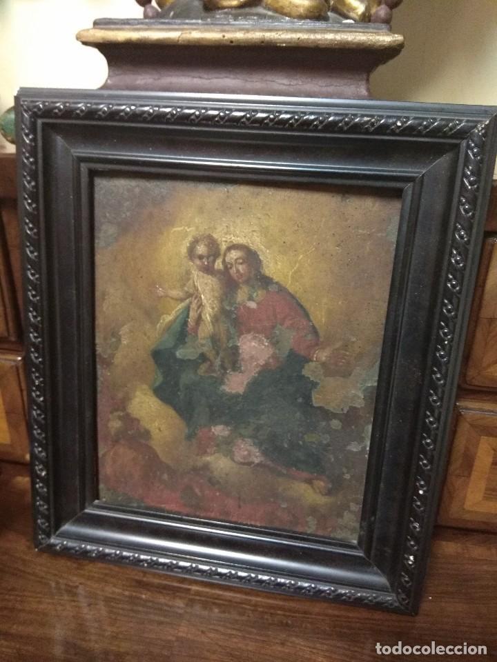 Arte: Óleo Sobre Cobre - La Virgen con el Niño XVIII - Foto 2 - 118479067