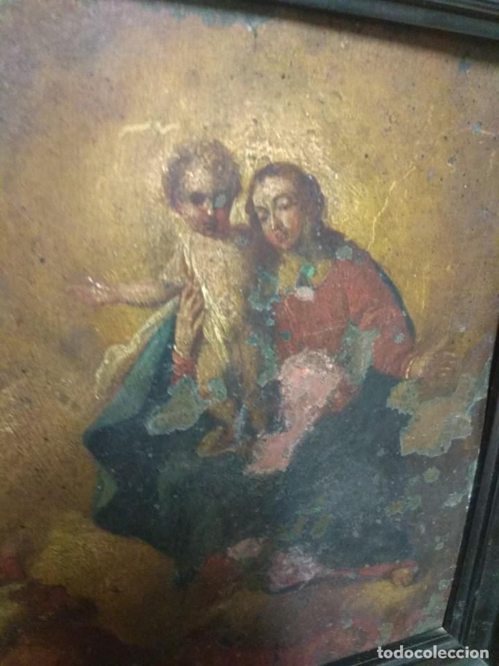 Arte: Óleo Sobre Cobre - La Virgen con el Niño XVIII - Foto 3 - 118479067