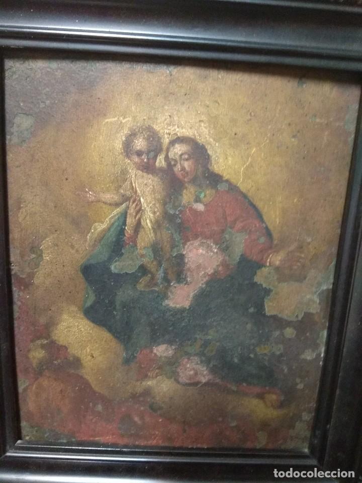 Arte: Óleo Sobre Cobre - La Virgen con el Niño XVIII - Foto 5 - 118479067