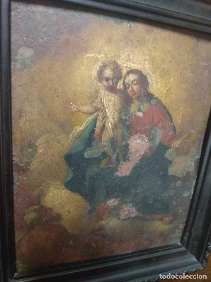 Arte: Óleo Sobre Cobre - La Virgen con el Niño XVIII - Foto 6 - 118479067