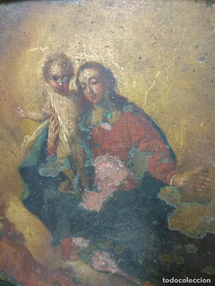 Arte: Óleo Sobre Cobre - La Virgen con el Niño XVIII - Foto 7 - 118479067
