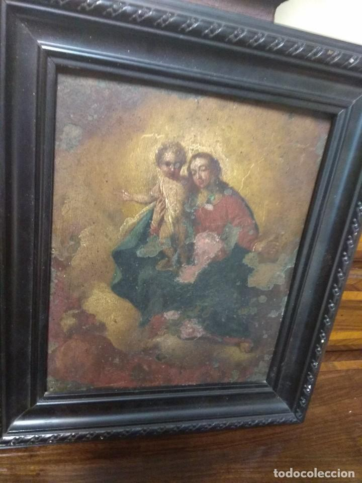 Arte: Óleo Sobre Cobre - La Virgen con el Niño XVIII - Foto 9 - 118479067