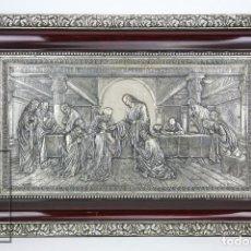 Arte: RELIEVE RELIGIOSO GRAN FORMATO EN METAL - SATURNINO CALVO, FIRMADO - COMUNIÓN DE LOS APÓSTOLES. Lote 118552111