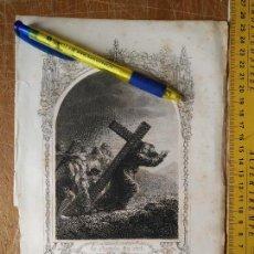 Arte: KK - REF: 1851 - GRABADO ORIGINAL RELIGIOSO AÑO 1851 - CRISTO CAIDO HACIA EL CAMINO DEL CIELO. Lote 118569043