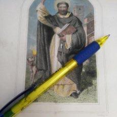 Arte: KK - REF: 1851 - GRABADO ORIGINAL RELIGIOSO AÑO 1851 - COLOREADO COLOR ILUMINADO - SAN SANTO DOMINGO. Lote 118573655