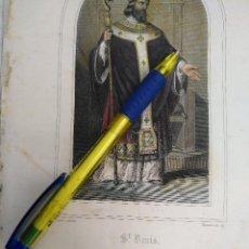 Arte: KK - REF: 1851 - GRABADO ORIGINAL RELIGIOSO AÑO 1851 - COLOREADO COLOR ILUMINADO SAN DENIS DIONISIO. Lote 118573779