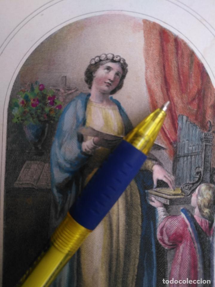 KK - REF: 1851 - GRABADO ORIGINAL RELIGIOSO AÑO 1851 - COLOREADO COLOR ILUMINADO SANTA CECILIA (Arte - Arte Religioso - Grabados)