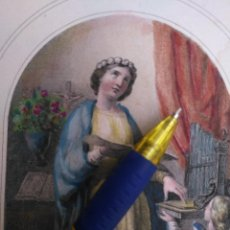 Arte: KK - REF: 1851 - GRABADO ORIGINAL RELIGIOSO AÑO 1851 - COLOREADO COLOR ILUMINADO SANTA CECILIA. Lote 118573851