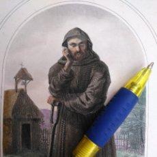 Arte: KK - REF: 1851 - GRABADO ORIGINAL RELIGIOSO AÑO 1851 - COLOREADO COLOR ILUMINADO SAN FIACRE . Lote 118574047