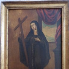 Arte: SANTA VERÓNICA GIULIANI. OLEO SOBRE TABLA DEL SIGLO XVII CON MARCO DE ÉPOCA. 47 X 36 CM.. Lote 118595195