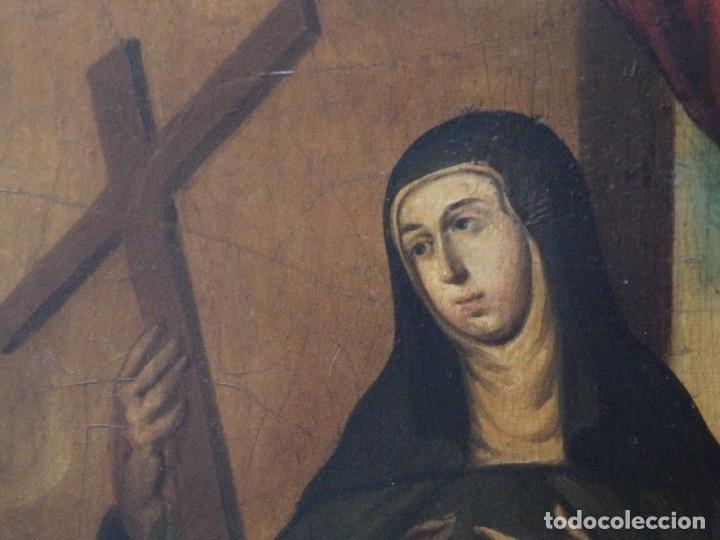 Arte: Santa Verónica Giuliani. Oleo sobre tabla del siglo XVII con marco de época. 47 x 36 cm. - Foto 3 - 118595195