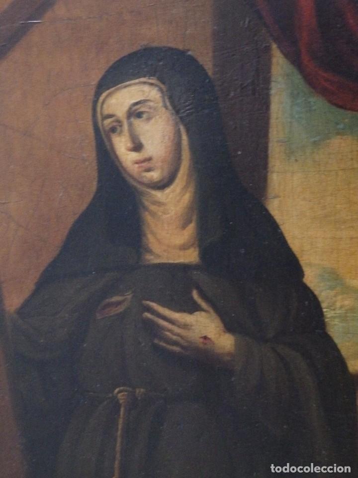 Arte: Santa Verónica Giuliani. Oleo sobre tabla del siglo XVII con marco de época. 47 x 36 cm. - Foto 6 - 118595195